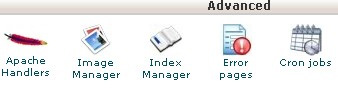 cPanel Advanced tab showing the Cron Jobs icon