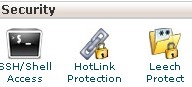 Screenshot showing the cPanel dashboard highlighting the security menu and the Leech Protect icon