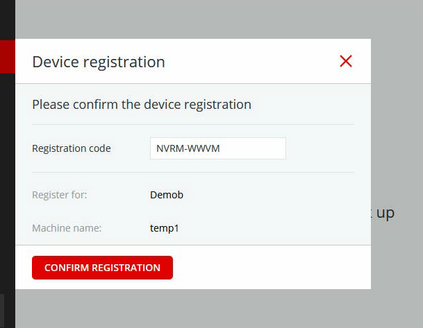 """Device registration screen showing the """"Confirm Registration"""" button"""