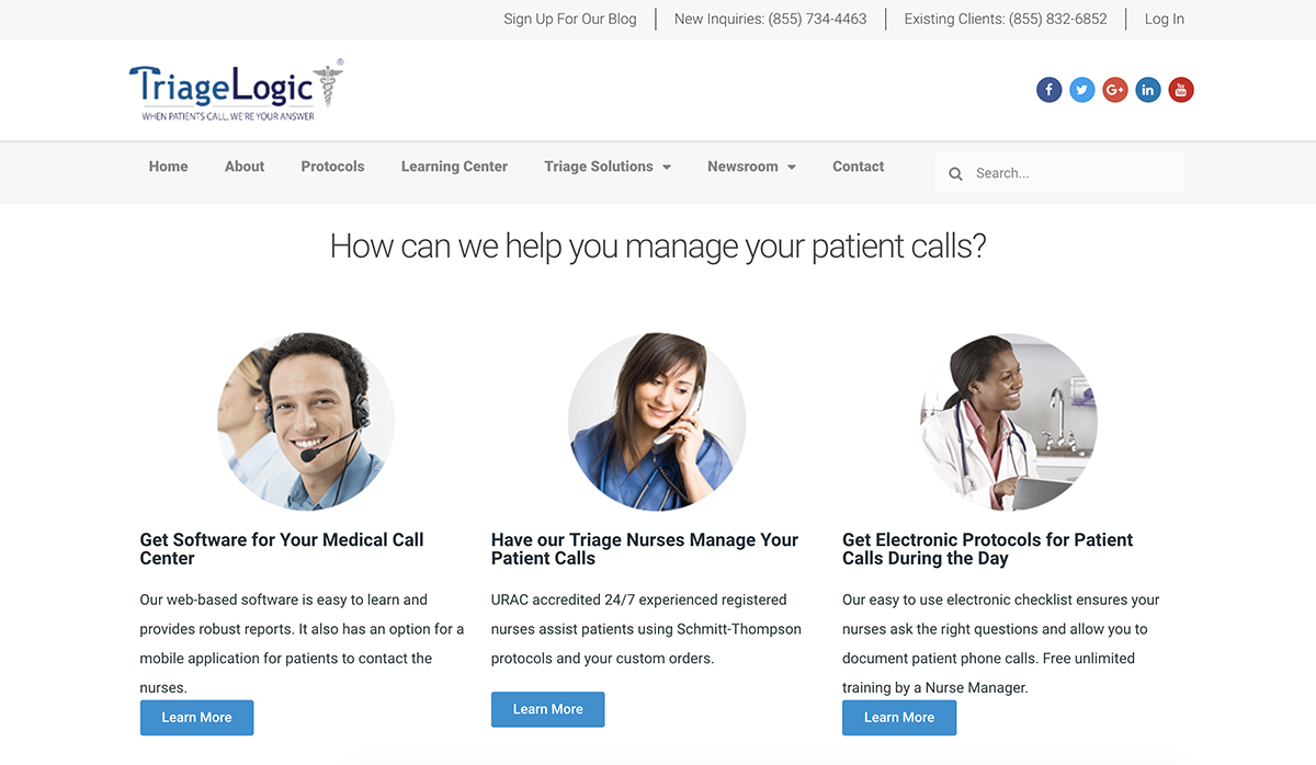 """A screenshot of TriageLogic's homepage with the text """"How can we help you manage your patient calls?"""""""