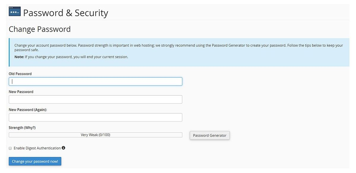Screenshot of the cPanel Password & Security Change Password screen