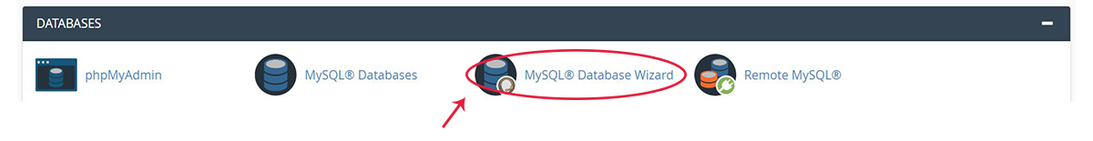 Screenshot of the cPanel Databases Section with the MySQL Databases icon highlighted