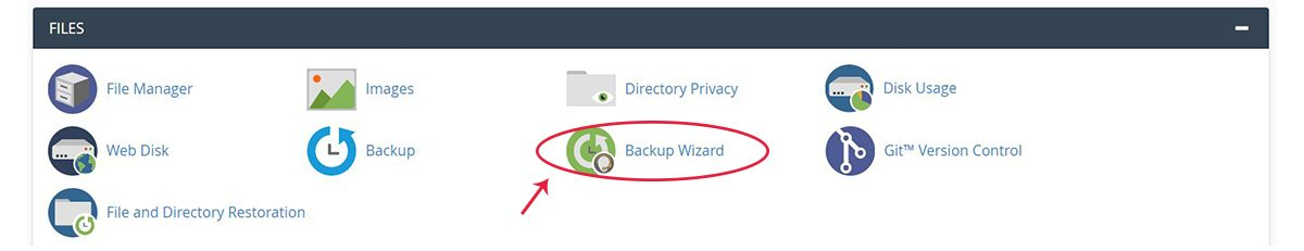 Screenshot of the cPane Files section with the Backup Wizard icon selected
