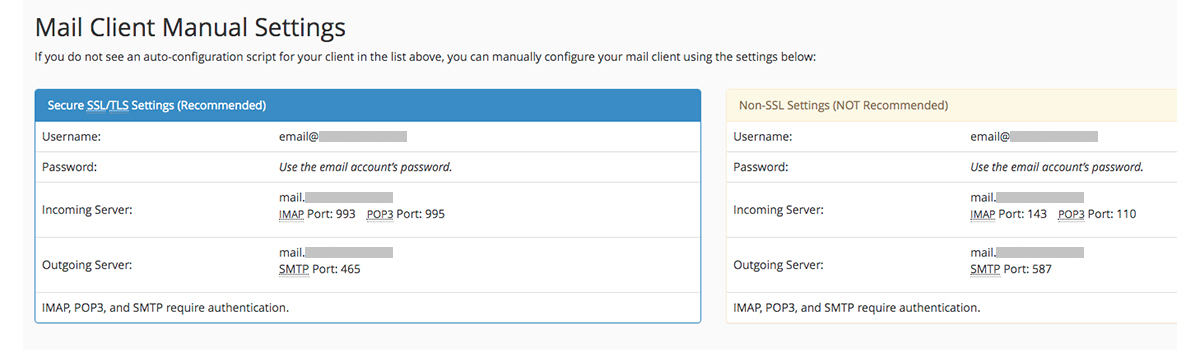 Screenshot of the cPanel Mail Client Manual Settings page