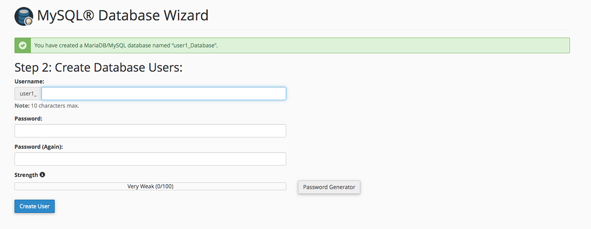 Screenshot of the cPanel MySQL Database Wizard Create Database Users screen