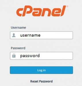 Screenshot of the cPanel login screen
