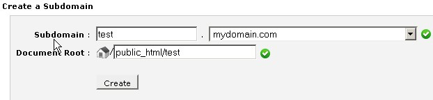 """""""Create a Subdomain"""" form showing form fields for domain name and document root"""