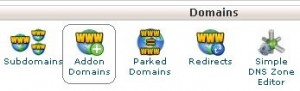 Domains category in the cPanel dashboard, highlighting the Addon Domains tool