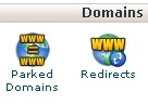 Domains category in the cPanel dashboard, showing the icon for the Parked Domains tool