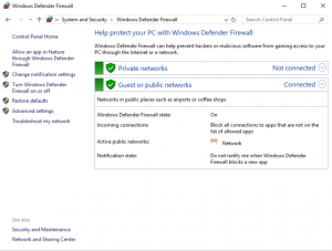 Screenshot showing options for the Windows Defender Firewall