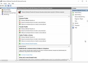 Screenshot showing the Advanced settings and Inbound Rules options