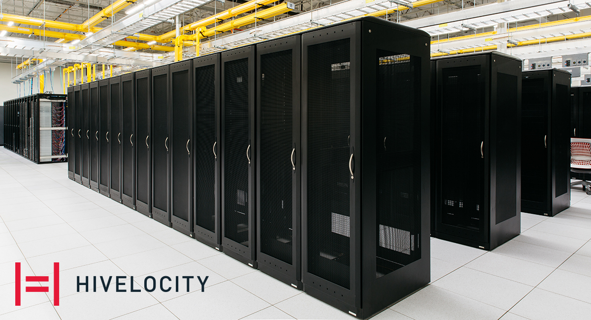 Hivelocity data center with rows of storage cabinets