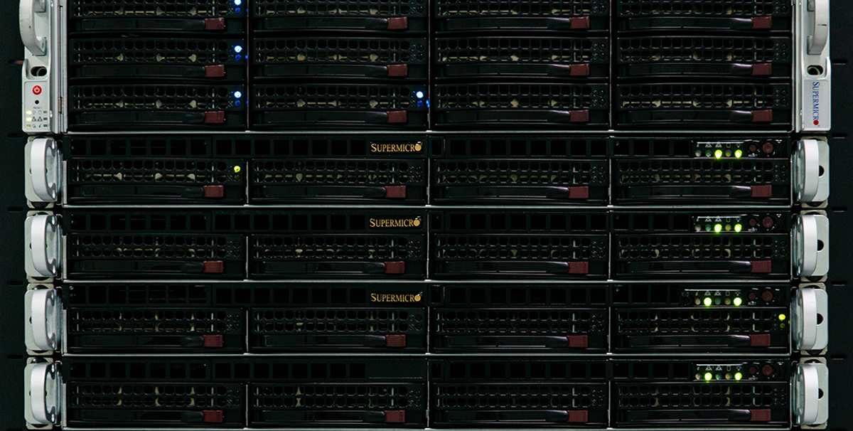 A stack of servers rising vertically