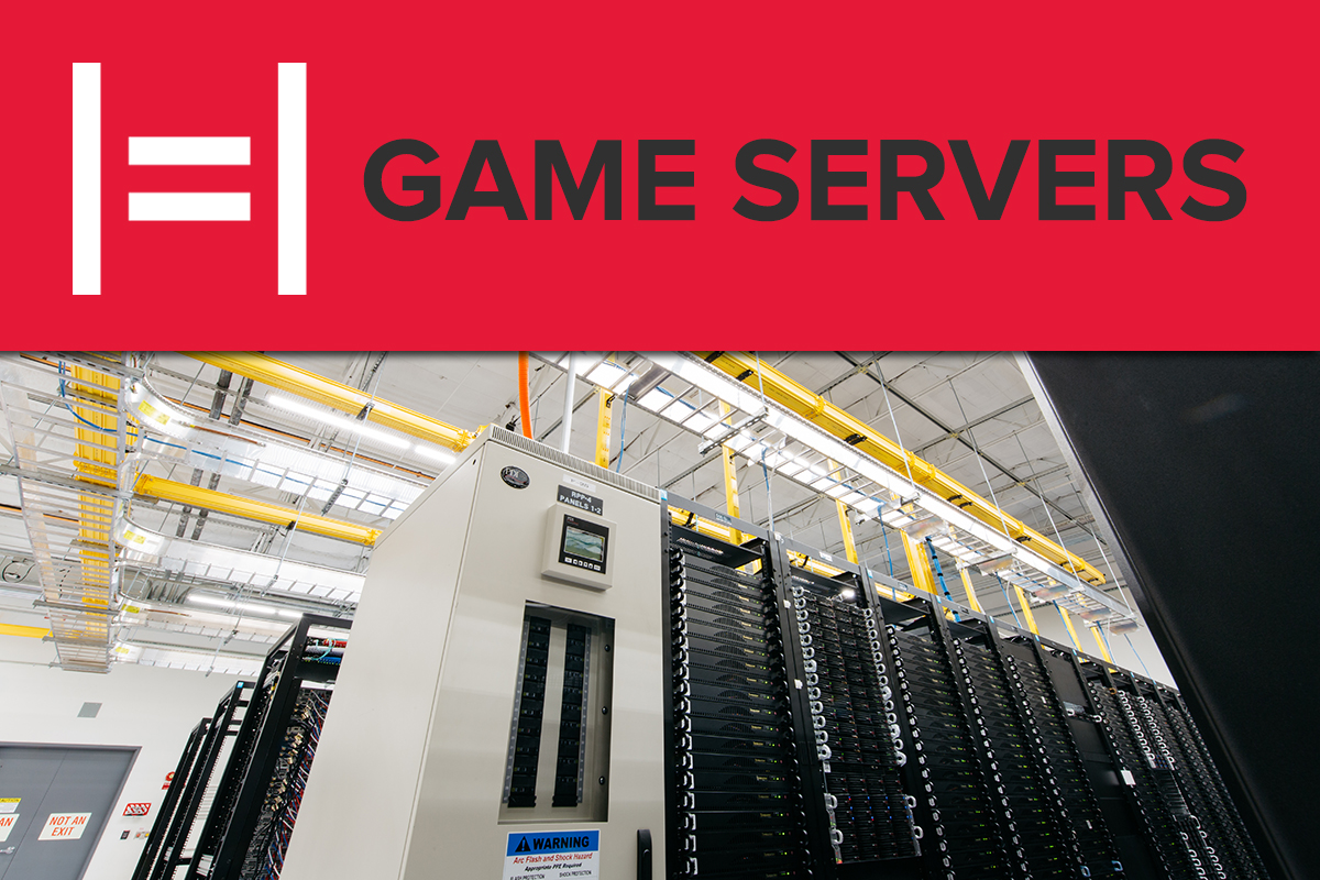 """Title image with the text """"Game Servers"""" floating over a room full of servers"""