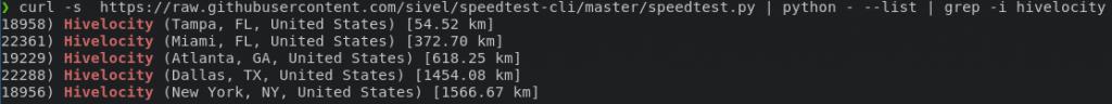speedtest-cli server list