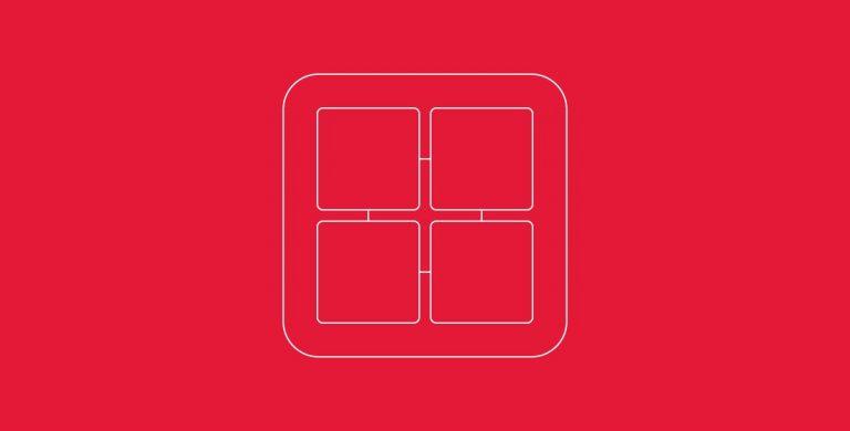 Icon representing a 4 core CPU