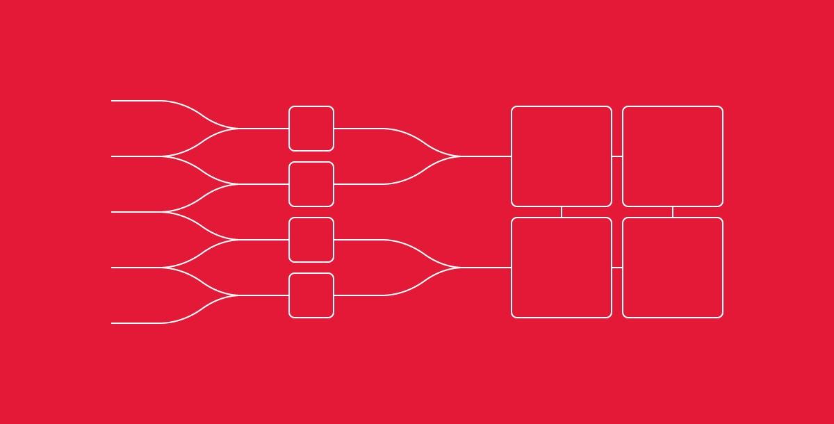 Icon representing 2 cores being split via Hyperthreading